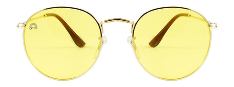 RainbowOPTX - Round Gold Metal Sunglasses / Yellow Lenses