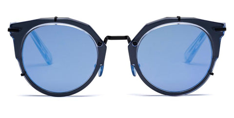 Westward Leaning - Sphinx 06 Polished Blue Ice Acetate Matte Black Metal Sunglasses / Lilac Rain Mirror Lenses