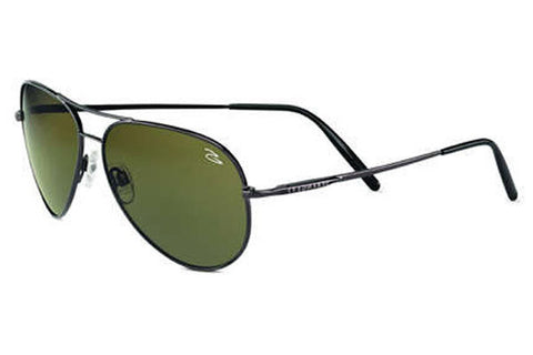 Serengeti - Medium Aviator Shiny Gunmetal Sunglasses, Polarized 555nm Lenses