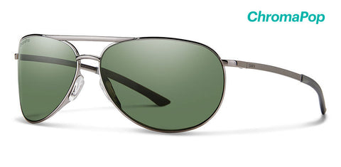 Smith - Serpico Slim 2 Gunmetal Sunglasses / ChromaPop Polarized Gray Green Lenses