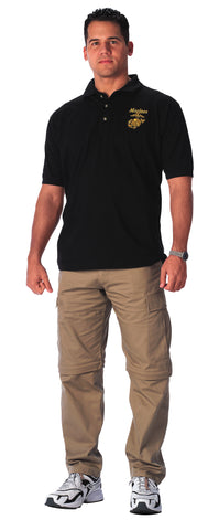 Rothco - USMC Moisture Wicking Embroidered Black Polo Shirt