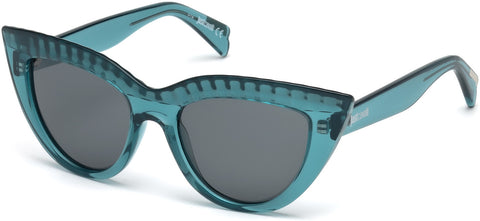 Just Cavalli - JC746S Shiny Turquoise Sunglasses / Smoke Lenses