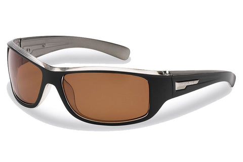 Flying Fisherman - Helm 7831 Black-Crystal Gunmetal Sunglasses, Amber Lenses