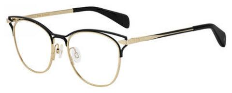 Rag & Bone - Rnb 3019 Gold Black Eyeglasses / Demo Lenses