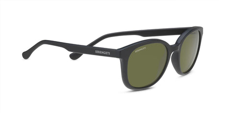 Serengeti - Mara Matte Black Sunglasses / Mineral Polarized 555nm Green Lenses