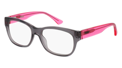 Puma - PJ0003O Junior Grey + Pink Eyeglasses / Demo Lenses