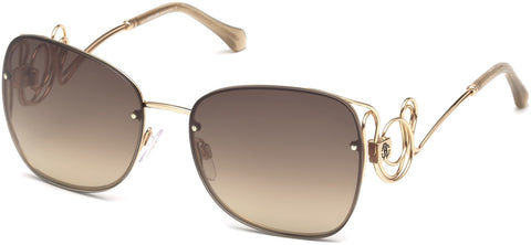 Roberto Cavalli - RC1027 Carrara Shiny Rose Gold Sunglasses / Brown Mirror Lenses