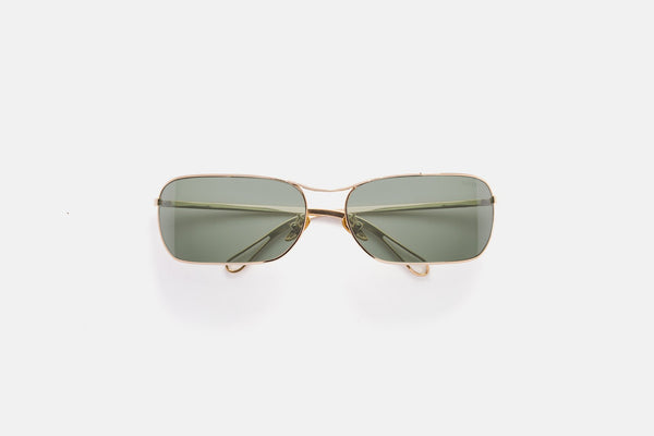 Super - Zebedia 66mm Gold Sunglasses / Green Lenses