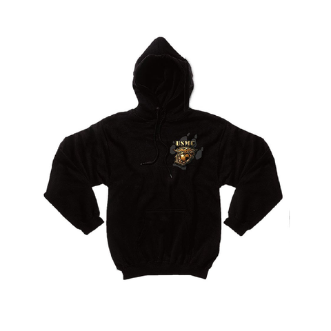 Rothco - Black Ink's U.S.M.C. Bulldog Hooded Pullover Black Sweatshirt