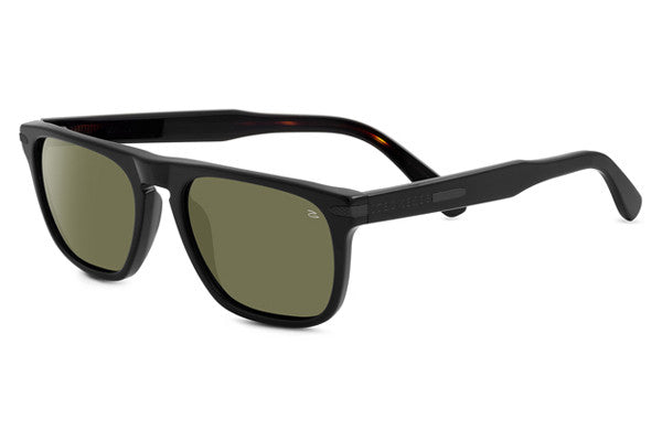 Serengeti - Enrico Shiny Black/Dark Tortoise Sunglasses, Polarized 555nm Lenses