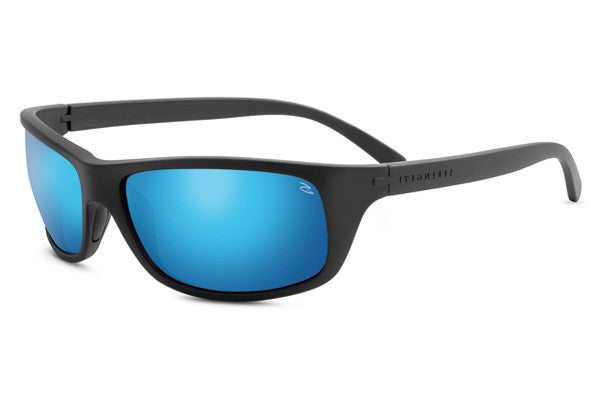 Serengeti - Bormio Satin Black Sunglasses, Polarized PhD 555nm Blue Lenses