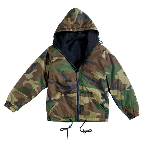 Rothco - Reversible Lined Woodland Camo Hooded Jacket