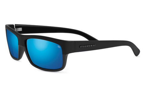 Serengeti - Martino Satin/Shiny Black Sunglasses, Polarized 555nm Blue  Lenses