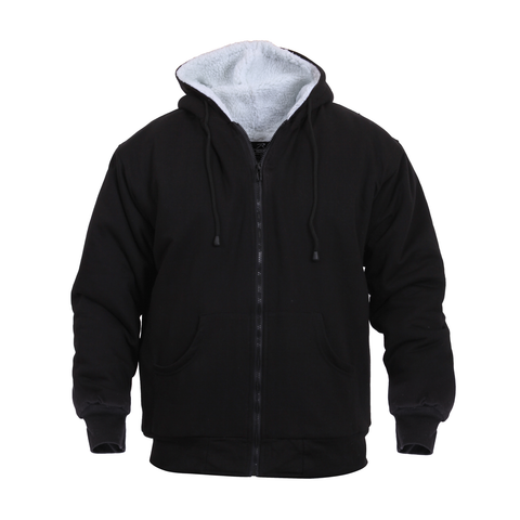 Rothco - Heavyweight Sherpa Lined Zippered Black Sweatshirt