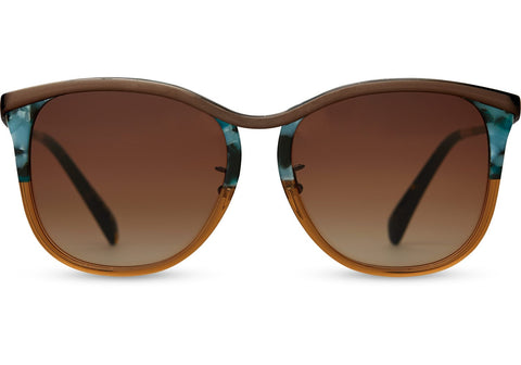 TOMS Sandela 301 Champagne Crystal Gold Sunglasses with Brown Gradient Lens