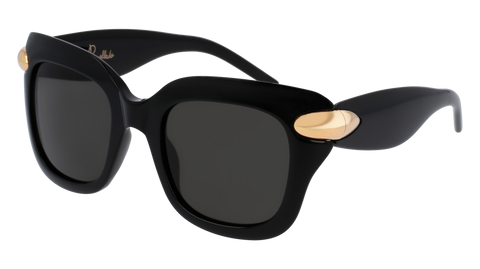 Pomellato - PM0017S 49mm Black Sunglasses / Shiny Smoke Lenses