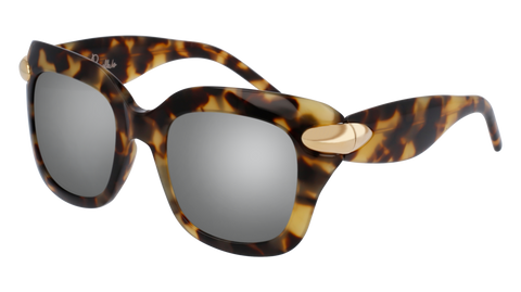 Pomellato - PM0017S 49mm Havana Sunglasses / Yellow Silver Lenses