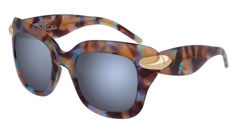 Pomellato - PM0017S 49mm Havana Sunglasses / Multicolor Silver Lenses