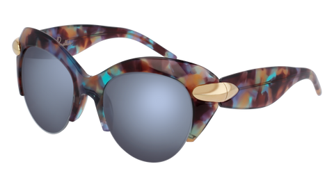 Pomellato - PM0018S 50mm Havana Sunglasses / Multicolor Grey Lenses