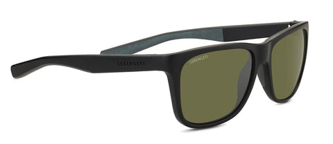 Serengeti - Livio Sanded Black Sunglasses / Mineral Polarized 555nm Green Lenses