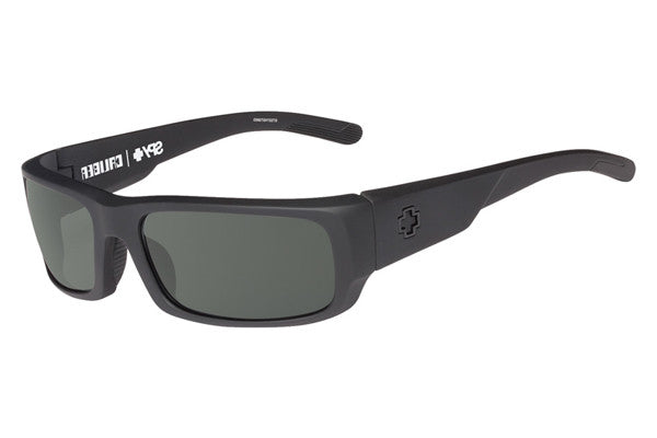 Spy - Caliber Soft Matte Black Sunglasses, Happy Grey Green Polar Lenses