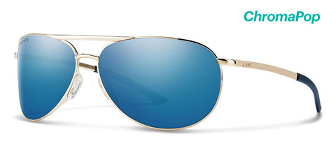 Smith - Serpico Slim 2 Gold Sunglasses / ChromaPop Polarized Blue Mirror Lenses