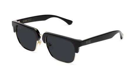 9FIVE - Belmont 53mm Black Gold Sunglasses / Black Blue Polarized Lenses