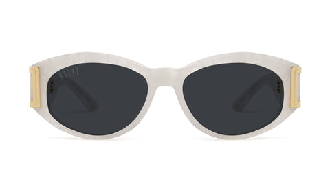 9FIVE - Capital Marble Croc & 24k 54mm White Sunglasses / Black Lenses