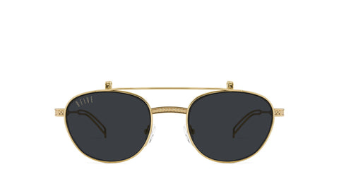 9FIVE - Dime Flip-Up 24k 50mm Gold Sunglasses / Black Lenses