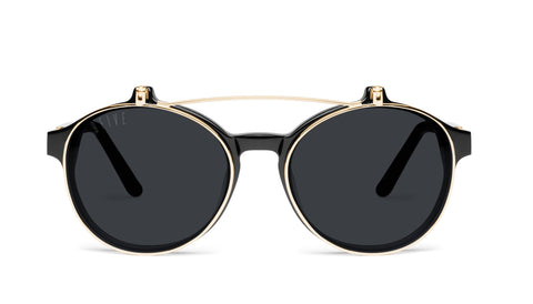 9FIVE - Lane Black & 24K 49mm Black Sunglasses / Black Lenses