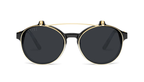 9FIVE - Lane Marble Croc & 24K 49mm Gold Sunglasses / Black Lenses