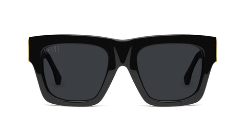 9FIVE - Lucy Black & 24k 50mm Black Gold Sunglasses / Black Lenses