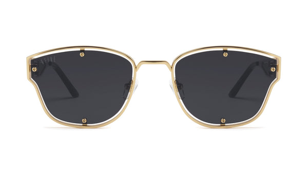 9FIVE - Orion 55mm Black 24k Gold Sunglasses / Black Blue Polarized Lenses