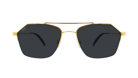 9FIVE - Quarter Black & 24k 54mm Gold Sunglasses / Black Lenses