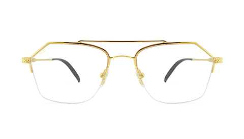 9FIVE - Quarter Black & 24k 54mm Gold Eyeglasses / Demo Lenses