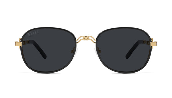 9FIVE - St. Michael 53mm Black 24k Gold Sunglasses / Black Lenses