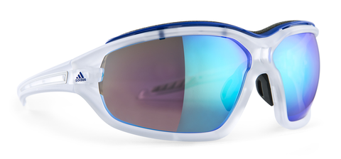 Adidas - Evil Eye Evo Pro Crystal Matte Blue Sunglasses, Blue Mirror Lenses