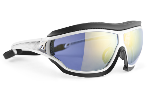 Adidas - Tycane Pro Outdoor White Shiny / Grey Sunglasess, LST Bluelight Silver AF H Lenses