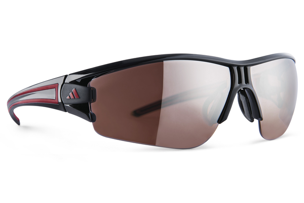 Adidas - Evil Eye Halfrim Shiny Black / Red Sunglasses,  LST Active Silver Lenses