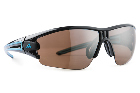Adidas - Evil Eye Halfrim Shiny Black / Blue Sunglasses,  LST Contrast Silver Lenses
