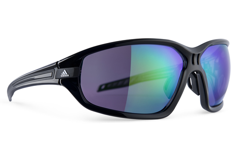 Adidas - Evil Eye Evo Black Shiny / Black Sunglasess, Green Moirror Lenses