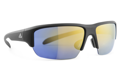 Adidas - Kumacross Halfrim Black Matte Sunglasses, Gold Mirror Lenses