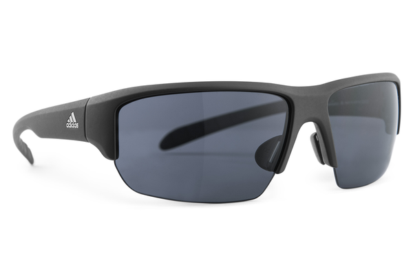 Adidas - Kumacross Halfrim Black Matte Sunglasses, Gray Lenses
