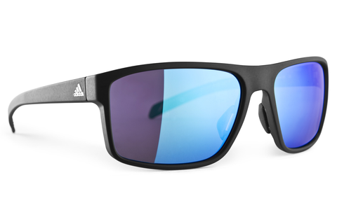 Adidas - Whipstart Black Matte / Black Sunglasses, Blue Mirror Lenses