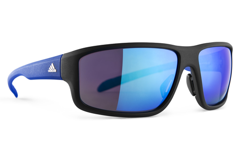 Adidas - Kumacross 2.0 Black Matte / Blue Sunglasses, Blue Mirror Lenses