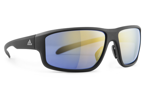 Adidas - Kumacross 2.0 Black Matte Sunglasses, Gray Yellow Mirror Lenses