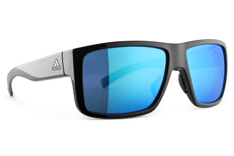 Adidas - Matic Black Shiny / Blue  Sunglasses, Blue Mirror Lenses