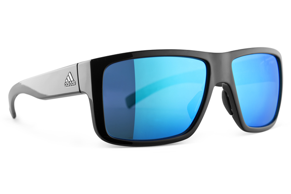 Adidas - 3Matic Black Shiny / Blue Sunglasses, Blue Mirror Lenses