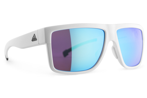 Adidas - 3Matic White / Blue Sunglasses, Blue Mirror Lenses