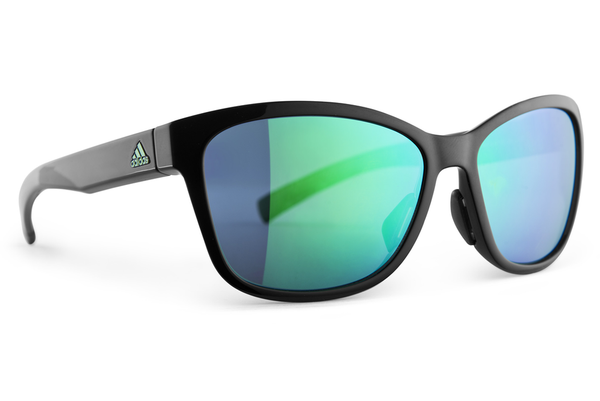 Adidas - Excalate Black Shiny / Green Sunglasses, Green Mirror Lenses
